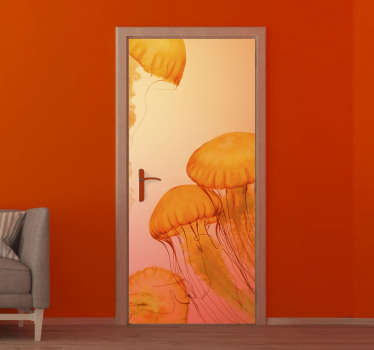 Decorate the door surface with our original door vinyl decal of jelly fish in an amazing orange background colour. You can have it in nay size .