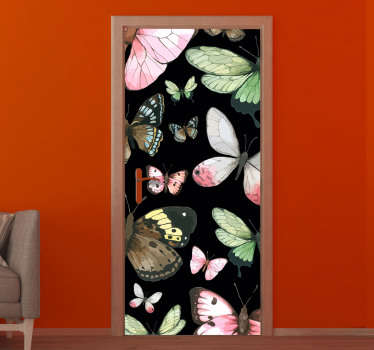Decorative door sticker of colorful butterflies in original appearance  look. You can have it in any size that will fit the door space in the home.