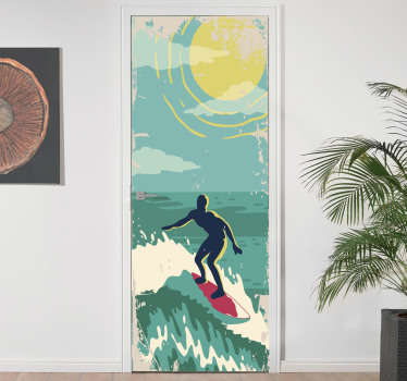 Decorative door sticker of a surfer on the sea with the sun in it bright yellow colour. Choose the size that best fit the door space to apply it.
