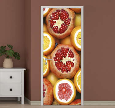 Original vinyl door sticker of sliced fruits to beautify the door in the kitchen. It amazing appearance on the door will transform the space.