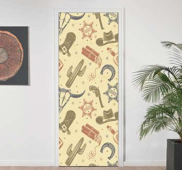 Vinilo para puerta de diseños vaquero con toda la representación simbólica típica. Elija el tamaño que se ajuste a su puerta