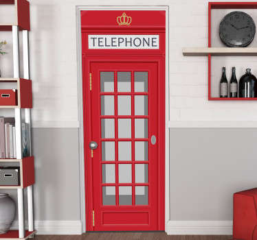 Decorative door sticker for telephone box . Choose it in the size that is preferable for the space to apply it. Easy to apply on any flat space.