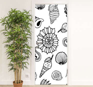 Decorative door vinyl decal for all door space in the home. It contains features of sea animals and can be customised to fit  any desired surface.