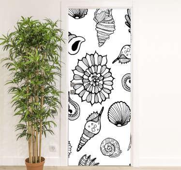 stickerin vinile porta decorativa per tutto lo spazio della porta in casa. Contiene caratteristiche di animali marini e può essere personalizzato per adattarsi a qualsiasi superficie desiderata.