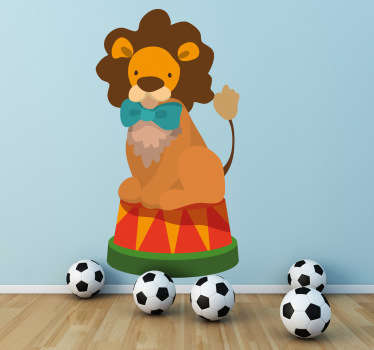 Kids Wall Stickers -Playful illustration of a lion with a bow tie. Colourful design ideal for decorating areas for kids.