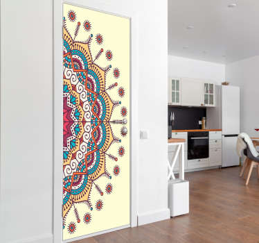 Buy our decorative door sticker designed with an original vintage mandala pattern. An amazing decoration customisable in size to fit any desired space
