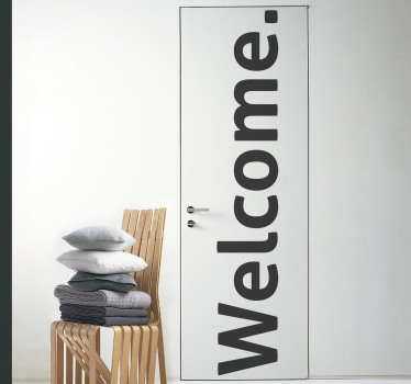 Decorative door sticker with a welcome text to decorate any door surface in the home or any  space. It is customisable to fit any desired surface.