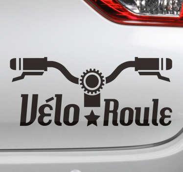 Sticker voiture décoratif facile à appliquer avec la conception d'un guidon de vélo. Il est disponible dans des options de différentes couleurs et dimensions.