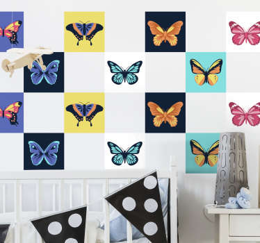 Decorate the wall surface of the home with our beautiful sets of tiles with multicolored butterflies on it. Buy it in the size measurement you want.