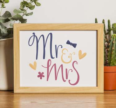 Un adesivo da sposa in vinile con il disegno della signora e della signora su di esso in un bel colore. Può essere applicato sul luogo del ricevimento di nozze e in casa.
