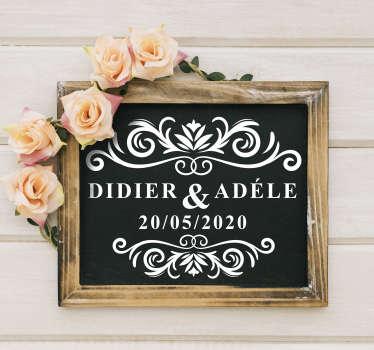 Sticker mariage de différentes tailles pour décorer toute surface plane. Ce sticker décoratif peut être personnalisé selon vos besoins.