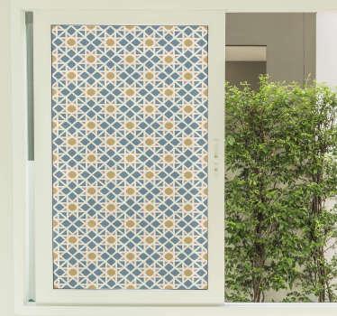 Un original diseño de vinilo para ventana estilo oriental de un patrón azul y naranja. Cómprelo en el tamaño que necesite.