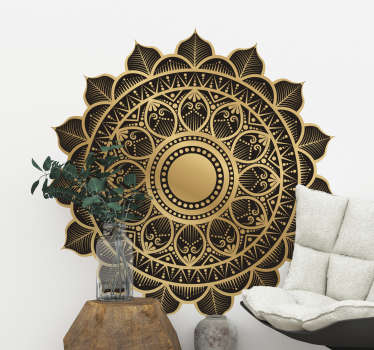 Decorative original oriental mandala floral wall sticker designed in beautiful rich background to decorate any flat surface .