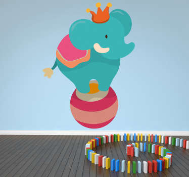 Muursticker kind circus olifant
