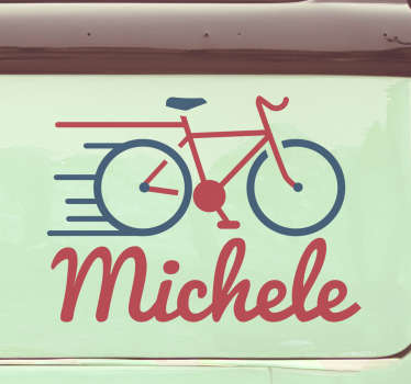 Customize a name on our car sticker with the design of a cycling bike on it. Provide the name you want on it and choose the size.