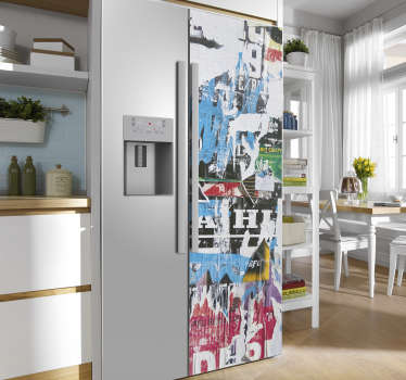 Decorative original art fridge wrap sticker to wrap the whole surface of a fridge in the kitchen. Can be customize to adapt to the surface of choice.