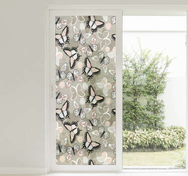Decorative window vinyl sticker design of multiple coloured butterflies to cover the whole surface of a window in the home.