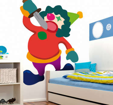 A kids wall sticker illustrating a colourful clown performing the sword act in which he attempts to swallow this sword with no problems.