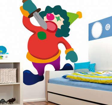 Sticker enfant clown épée cirque