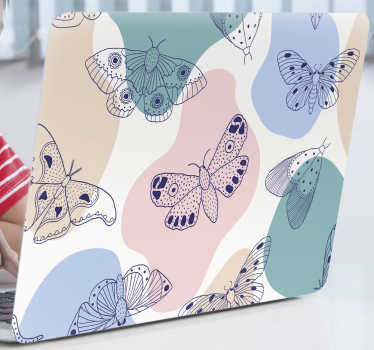 Decorative laptop vinyl sticker with multi coloured butterflies and abstract background in colours. Buy it in the size that fits your laptop.