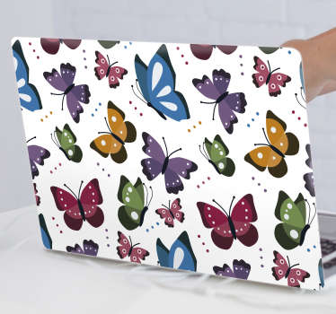 Décorer avec notre autocollant pour ordinateur portable imprimé papillons colorés pour envelopper toute la surface de l'ordinateur portable. Choisissez la taille qui convient parfaitement à votre appareil.