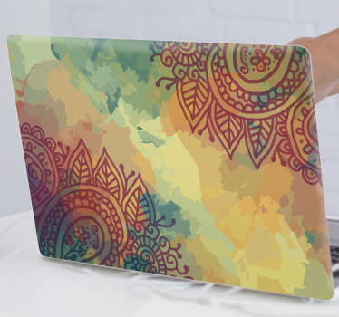 Autocollant coloré pour ordinateur portable fleur paisley pour envelopper toute la surface pour lui donner un grand look d'attraction. Achetez-le dans la taille qui lui convient.
