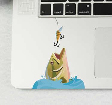 Decoratieve laptop zelfklevende sticker met het ontwerp van een vis van een computer om op het werkgebied van het apparaat te plaatsen. Koop het in de maat die de voorkeur heeft.
