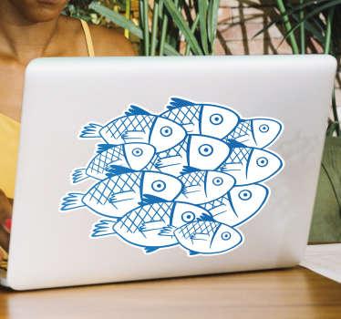 Bel autocollant pour ordinateur portable en vinyle avec la conception de poissons pour apporter une touche de fraîcheur sur un ordinateur portable. L'acheter dans la taille de préférence.
