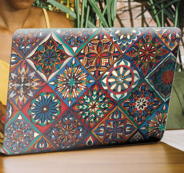 Buy our decorative vinyl laptop sticker with the design of floral tiles in multi coloured style to wrap a laptop. Select a suitable size.