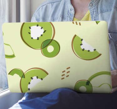 Vinilo decorativo de vinilo para laptop kiwis con diseño en memphis para envolver la superficie de una laptop. Envío a domicilio