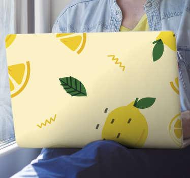 Vinilo decorativo para laptop con diseño de limones en estilo memphis. Cómprelo en el tamaño necesario para cubrir su portátil