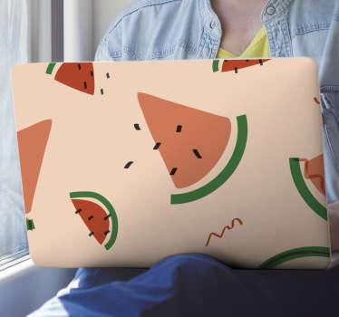 Sticker pour ordinateur portable avec un motif pastèque. Achetez-le dans la dimension qui correspond le mieux à la surface de votre ordinateur portable.