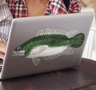 Vinilo para portátil con el diseño de un pez perca. Cómprelo en el tamaño personalizable que coincida perfectamente con la superficie deseada
