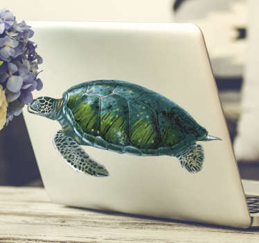 Colorful turtle laptop sticker with a real visual appearance to decorate a laptop . Available in any size of desire. Easy to apply.