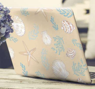 Vinilo decorativo para portátil fácil de aplicar con el diseño de conchas de mar para envolver toda la superficie con gran estilo ¡Envío a domicilio!