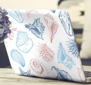 Vinilo para portátil con el diseño de concha marina en una increíble apariencia de color para envolver toda la superficie de un portátil