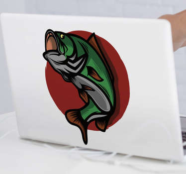 Decorative vinyl laptop sticker with the design of trout. Choose it in the size preferable for you. Easy to apply on flat surface.
