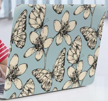 Okrasna vinilna nalepka za prenosnik z oblikovanjem vintage in cvetnih metuljev. Kupite ga v velikosti, ki najbolje ustreza površini, ki jo imate.