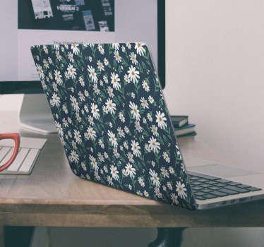 Autocollant decoratif pour ordinateur portable coloré fleur de marguerite avec un joli fond choisissez la taille parfaite pour votre ordinateur portable et son application est très simple.