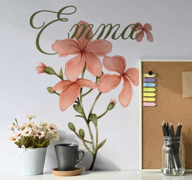 Autocolant de perete personalizabil cu designul unei flori. Furnizați un nume pentru produs și dimensiunea recomandată care se potrivește unde se aplică.