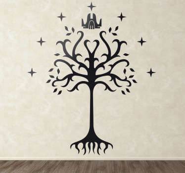 A decorative sticker illustrating the famous Gondor Tree. a Fantastic decal to decorate any room at home!