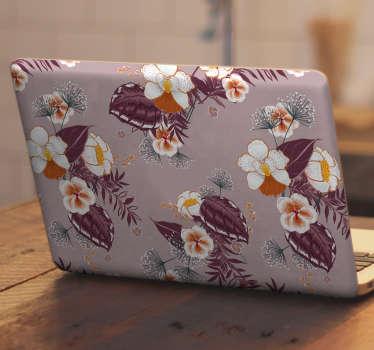 Autocollant décoratif pour ordinateur portable avec la conception de fleurs colorées en grande apparence. Achetez-le dans la dimension de taille qui convient le mieux à votre ordinateur portable.