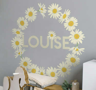 Decorative daisy crown flower wall sticker with personalizable name. Provide the name needed on it and it will be made to your specification.
