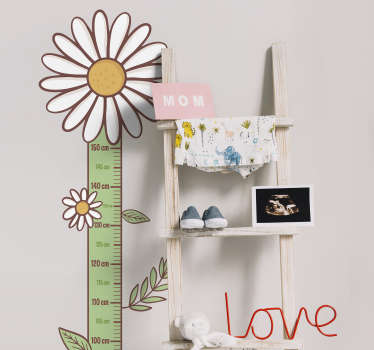 Meter height chart wall sticker to decorate the space of kids in the home . A well calibrated height chart in centimeters and daisy on it.