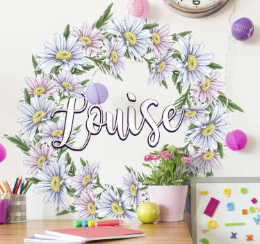 Personalize a name on our daisy crown flower sticker to decorate the wall surface in the home. It is available in customizable  to fit any surface.