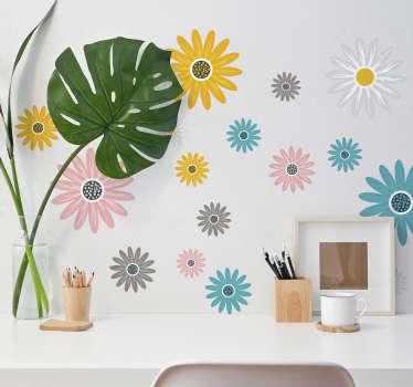 Compre nuestro vinilo decorativo de un conjunto de flores de margaritas para embellecer su hogar ¡Elija el tamaño que desee!