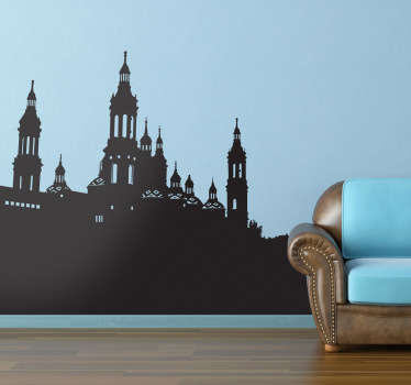 Country location theme wall decal design of  Basilica of the Pillar to decorate any space of choice. It is available in any size.