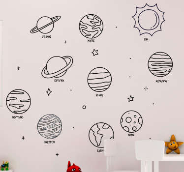 Disegno decorativo dell'autoadesivo della parete dei nove pianeti con il sistema solare. Acquistare in uno dei colori disponibili e le opzioni di dimensione.