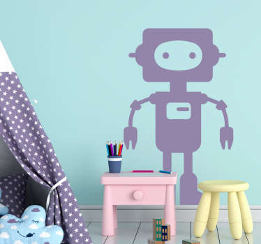 Decorative wall art sticker of a robot in silhouette available in different colour options to select.  The size can be customized to fit any surface.