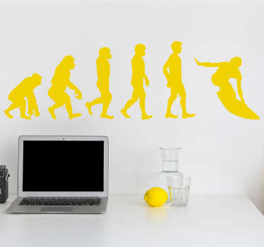 Sport evolution wall art decal with the design of evolutionary stage of surfing. Buy it in the colour that you prefer from the list we have.